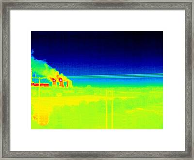 Electricity Power Lines, Thermogram Framed Print by Tony Mcconnell