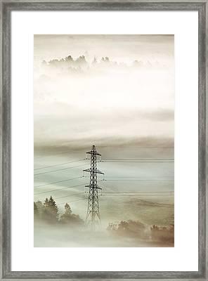 Electricity Pylon In Fog Framed Print