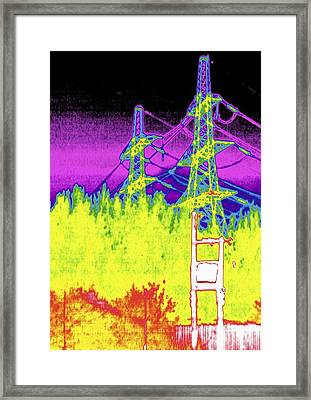 Electricity Pylons, Thermogram Framed Print by Tony Mcconnell