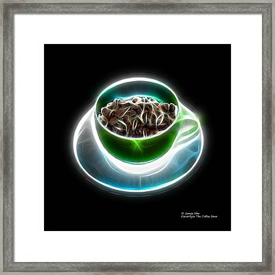 Electrifyin The Coffee Bean -version Green Framed Print