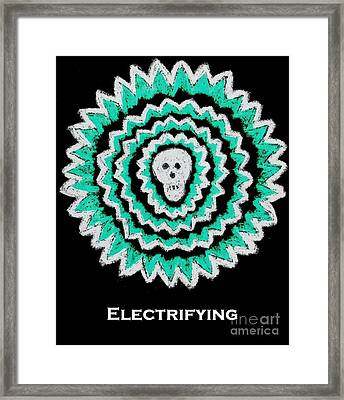 Electrifying Skull - Turquoise On Black Framed Print by Jeannie Atwater Jordan Allen