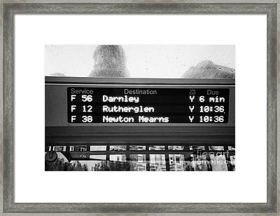 Electronic Bus Timetable In Central Glasgow Scotland Uk Framed Print