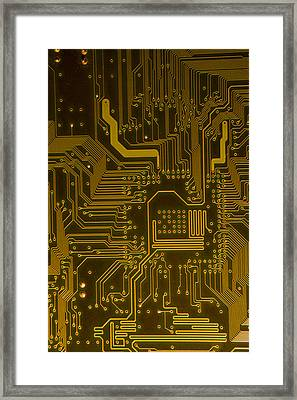 Electronic Highway Yellow Framed Print by David Paul Murray
