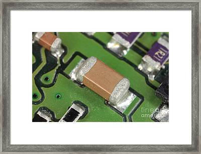 Electronics Board With Lead Solder Framed Print by Ted Kinsman
