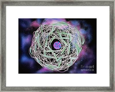 Electrons Orbiting Atom Framed Print by Omikron