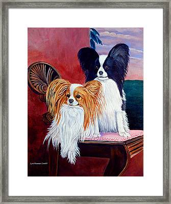 Elegance - Papillon Dog Framed Print by Lyn Cook