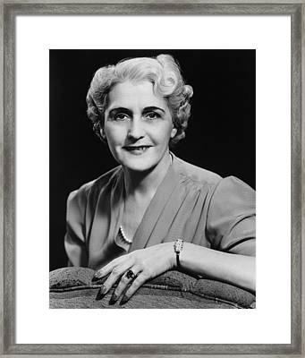 Elegant Mature Woman Smiling, (b&w), Portrait Framed Print by George Marks