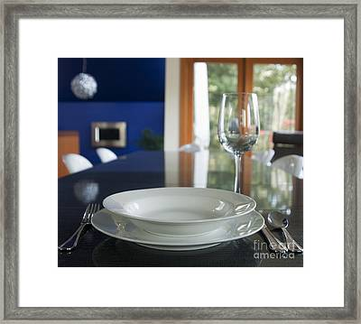 Elegant Place Setting In A Dining Room Framed Print by Marlene Ford