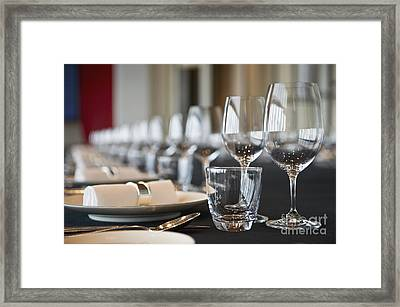 Elegant Place Settings On A Long Table Framed Print by Dave & Les Jacobs