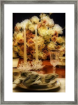 Elegant Tablesetting Framed Print by Trudy Wilkerson