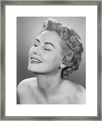 Elegant Woman Posing In Studio, Eyes Closed,  (b&w), Portrait Framed Print by George Marks