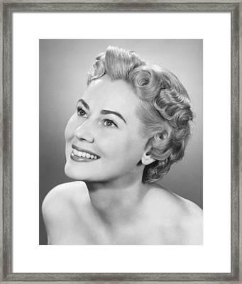 Elegant Woman Posing In Studio, Looking Up, (b&w), Portrait Framed Print by George Marks