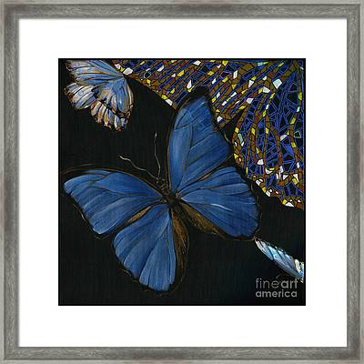 Framed Print featuring the painting Elena Yakubovich - Butterfly 2x2 Lower Left Corner by Elena Yakubovich