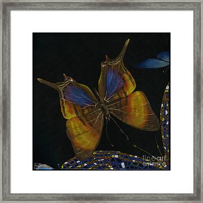 Framed Print featuring the painting Elena Yakubovich - Butterfly 2x2 Top Left Corner by Elena Yakubovich