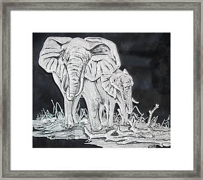 Elephant And Calf Framed Print by Akoko Okeyo