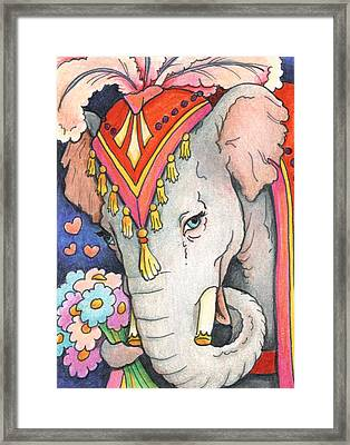 Elephant Flowers Framed Print by Amy S Turner