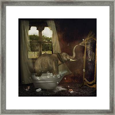 Elephant In Bath Framed Print