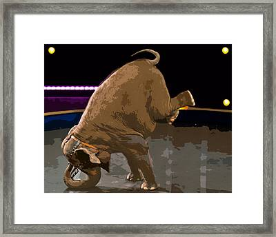 Framed Print featuring the photograph Elephant Perfomance At Circus by Susan Leggett