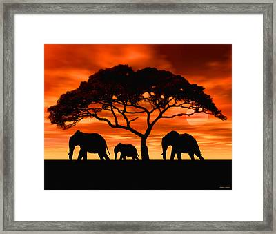 Framed Print featuring the digital art Elephant Sun Set by Walter Colvin