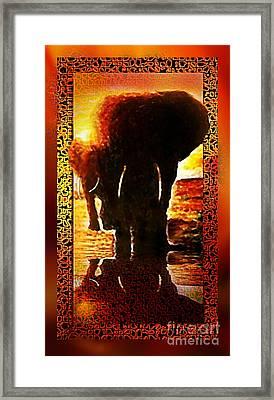 Framed Print featuring the digital art Elephants by Hartmut Jager