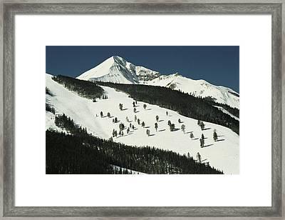 Elevated View Of Slope At Big Sky Ski Framed Print