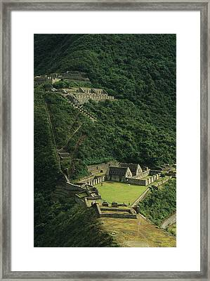 Elevated View Of The Ruins Of The Inca Framed Print