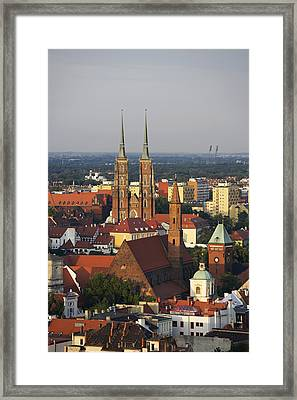 Elevated View Of Wroclaw With Church Spires Framed Print by Guy Vanderelst