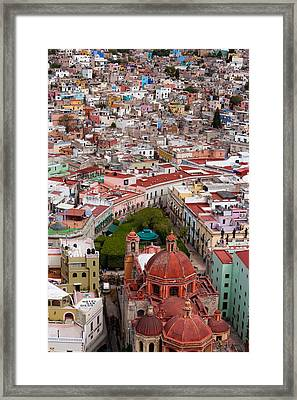 Elevated View Over The City Of Guanajuato In Mexico Framed Print by Mint Images/ Art Wolfe