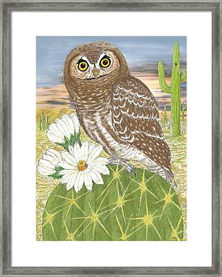 Framed Print featuring the digital art Elf Owl by Walter Colvin