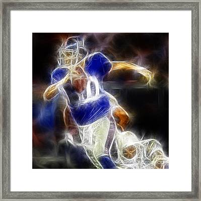 Eli Manning Quarterback Framed Print by Paul Ward