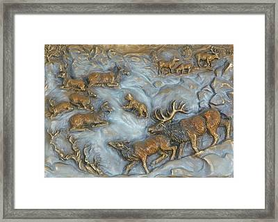 Elk And Bobcat In Winter Framed Print by Dawn Senior-Trask