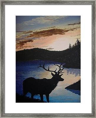 Framed Print featuring the painting Elk At Sunset by Norm Starks