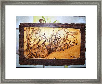 Elk Fightings-wood Pyrography Framed Print by Egri George-Christian