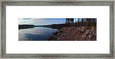 Elk Lake Panorama Framed Print by Twenty Two North Photography