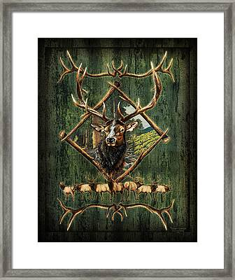 Elk Lodge Framed Print by JQ Licensing