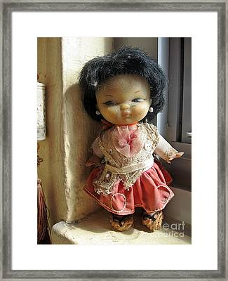 Ella Que Guarda La Ventana Framed Print by Toni Roberts