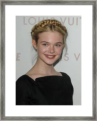 Elle Fanning At Arrivals For Somewhere Framed Print by Everett