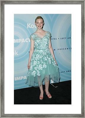 Elle Fanning Wearing A Dress By Marc Framed Print by Everett