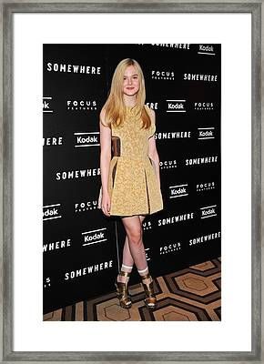 Elle Fanning Wearing A Rodarte Dress Framed Print