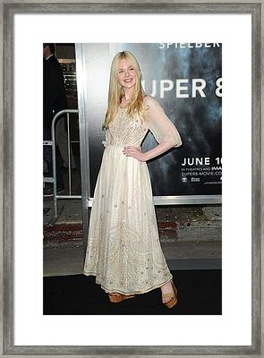 Elle Fanning Wearing A Vintage Dress Framed Print