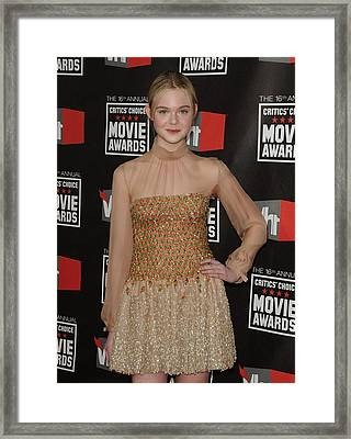 Elle Fanning Wearing Valentino Couture Framed Print by Everett