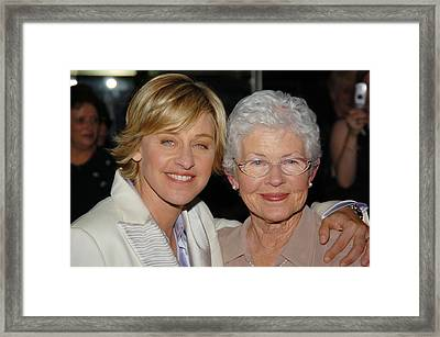 Ellen Degeneres And Her Mom Betty Framed Print