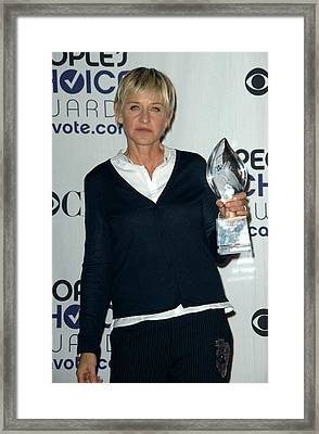 Ellen Degeneres In The Press Room Framed Print