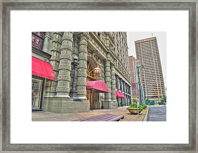 Framed Print featuring the photograph Ellicott Square Building And Hsbc by Michael Frank Jr