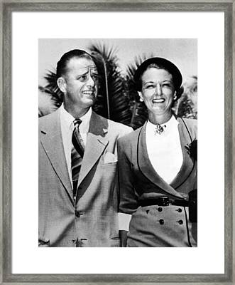 Elliot Roosevelt With His 4th Wife Framed Print by Everett