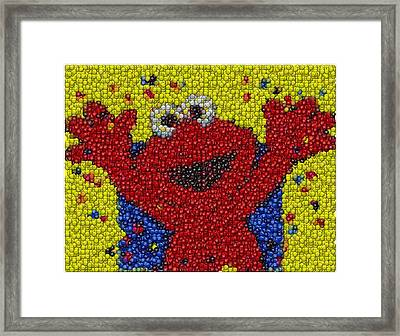 Elmo Mm Candy Mosaic Framed Print