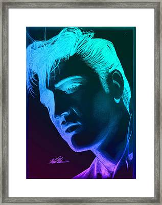 Elvis Neon Framed Print by Michael Mestas