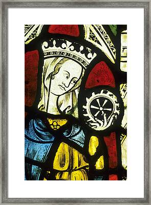 Ely Cathedral, Stained Glass, St Catherine, Wheel Framed Print by Neil Holmes