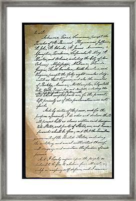 Emancipation Proc., P. 3 Framed Print