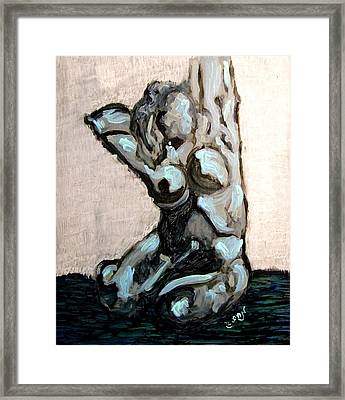 Emerald Green And Blue Expressionist Nude Female Figure Painting Filled With Emotion And Movement Framed Print